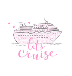 cute card with a cruise ship concept for vector image