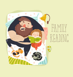 cute daughter reading bedtime story to his father vector image