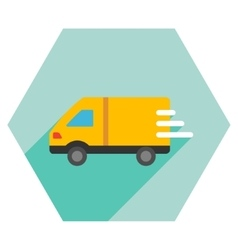 Delivery Van Flat Hexagon Icon with Long Shadow vector image