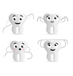 dental floss icon set cartoon style vector image