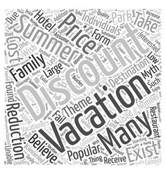 Discount Summer Vacations Do They Exist Word Cloud vector