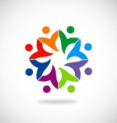 Diversity colorful circle people logo vector