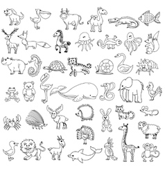 doodle animals children drawing vector image