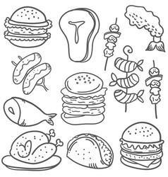 Doodle of food hand draw various vector