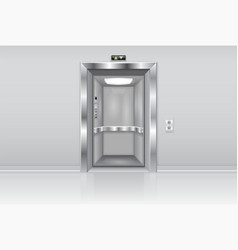 elevator doors metal open doors on the wall vector image