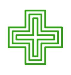 european pharmacy green cross sign icon vector image