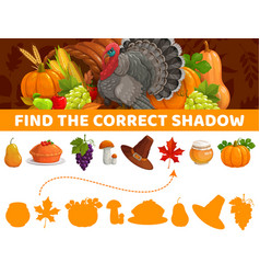 Find correct shadow thanksgiving autumn kids game vector