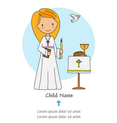 First communion card little girl with a candle an vector