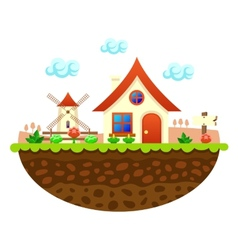Flat farm landscape with farmhouse vector