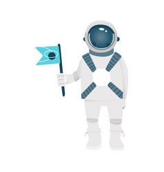 flat spacemen spacesuit in cosmos vector image