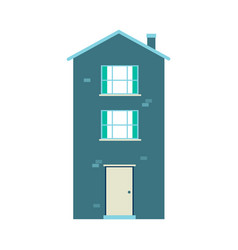 flat three-storey building with chimney on roof vector image