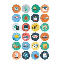 Flat travel and tourism icons 5 vector