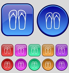 Flip-flops Beach shoes Sand sandals icon sign A vector image