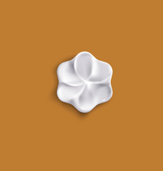 flower shaped whipped cream piece from top view vector image