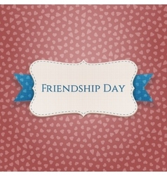 Friendship Day textile Badge with Ribbon vector