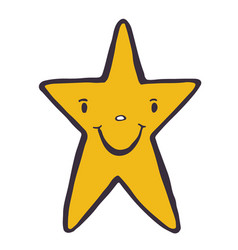 funny star character doodle icon hand vector image