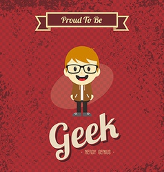 genius geek retro cartoon vector image