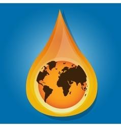 Globe earth inside water oil drop liquid vector