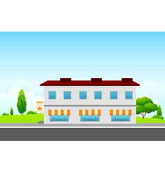 Green Landscape with cafe building vector image