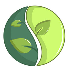 Green round sign with leaves icon cartoon style vector