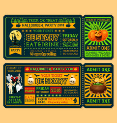 halloween ticket template for horror night party vector image