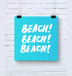 Hand drawn summer quote beach vector
