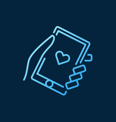 Hand holding smartphone blue icon in vector