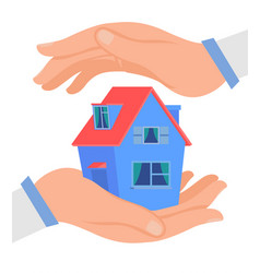 hands protecting cottage flat vector image