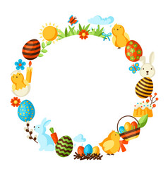Happy easter frame with holiday items vector