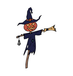 Happy halloween color icon pumpkin head vector