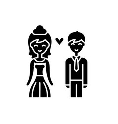 happy newlyweds black icon sign on vector image