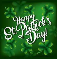 happy st patricks day invitation card with green vector image