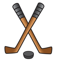 Hockey sticks and puck vector
