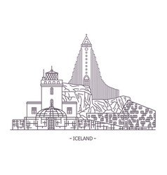 Iceland architecture landmarks vector
