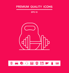 Kettlebell and barbell line icon graphic vector