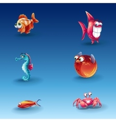 Kit of funny cartoon fishes vector