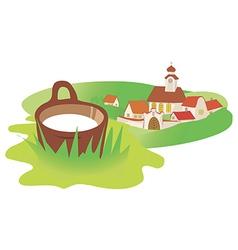 Landscape village milk vector image