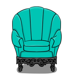 Large armchair with turquoise upholstery and gray vector
