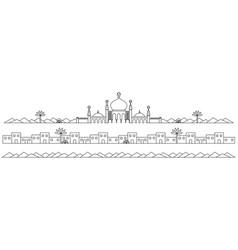 Line art mosques landscape vector