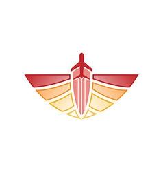 Logo airplane wings transportation tr vector