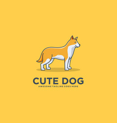 logo canadian eskimo dog pose cute cartoon vector image