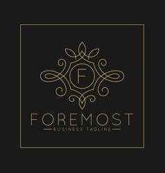 Luxurious letter f logo with classic line art vector