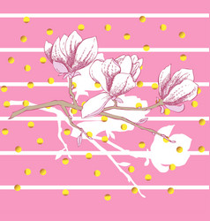 Magnolia spring flowers vector