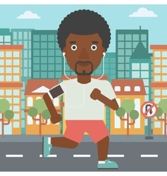 Man running with earphones and smartphone vector image