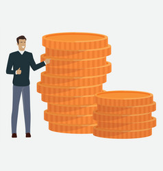 manager with coins investment and profit vector image