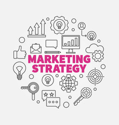 Marketing strategy round in vector