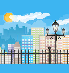 Modern city view cityscape with fence and lamp vector