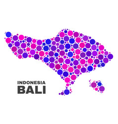 Mosaic bali map of round elements vector