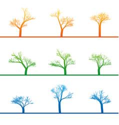 Mystical trees grow various form abstract linear vector