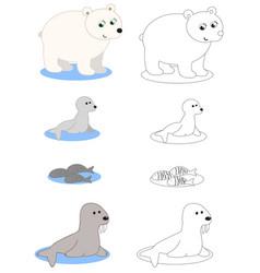 north pole animals coloring vector image